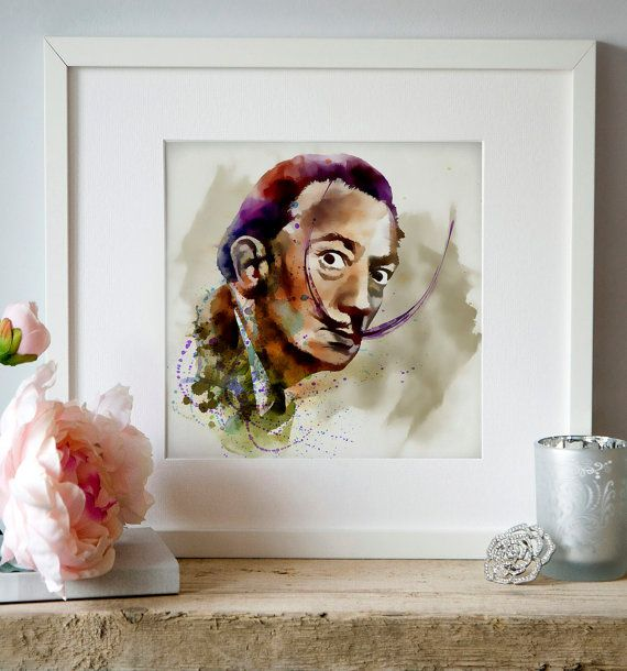 Salvador Dali Watercolor Weird Digital art Wall art by Artsyndrome