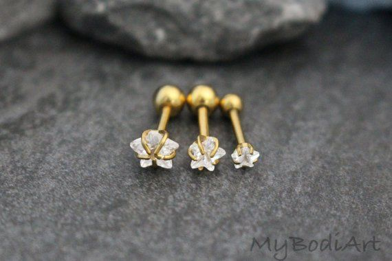 Golden Crystal Star Stud Conch Earring, Tragus Piercing, Cartilage Piercing, Helix Earring, Rook Jewelry, Rook Barbell. Helix Stud, Tragus Earring Surgical Steel, – MyBodiArt