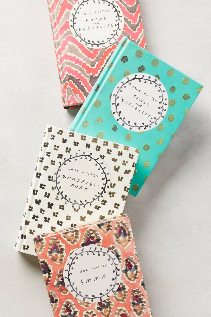 Jane Austen Classic Novels from Anthropologie (see more in the EAD shop: http://www.elizabethannedesigns.com/blog/product/jane-austen-classic-novels/)
