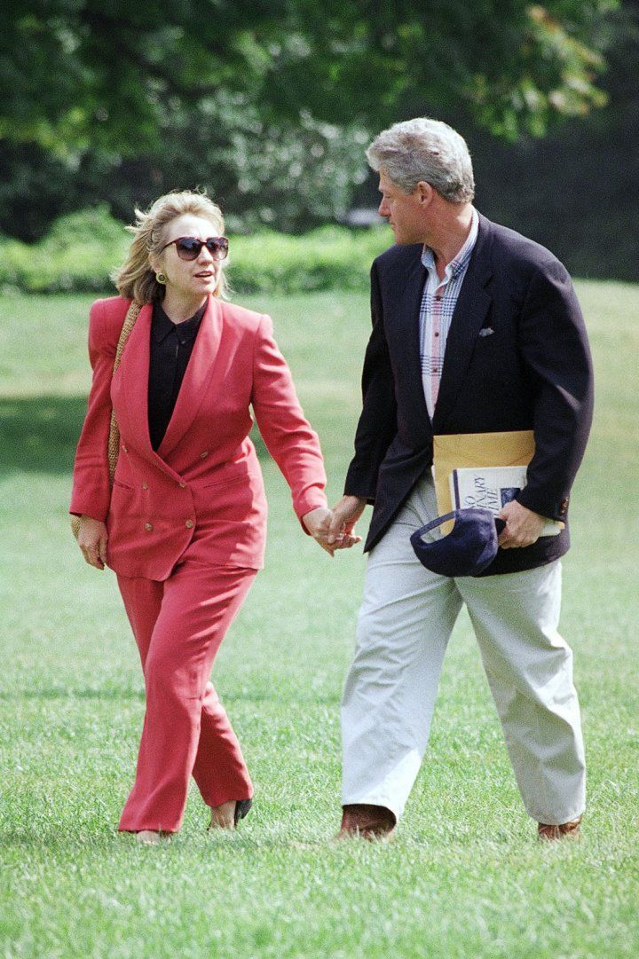 She sported Nantucket red as the pair returned to the White House from Martha's Vineyard.