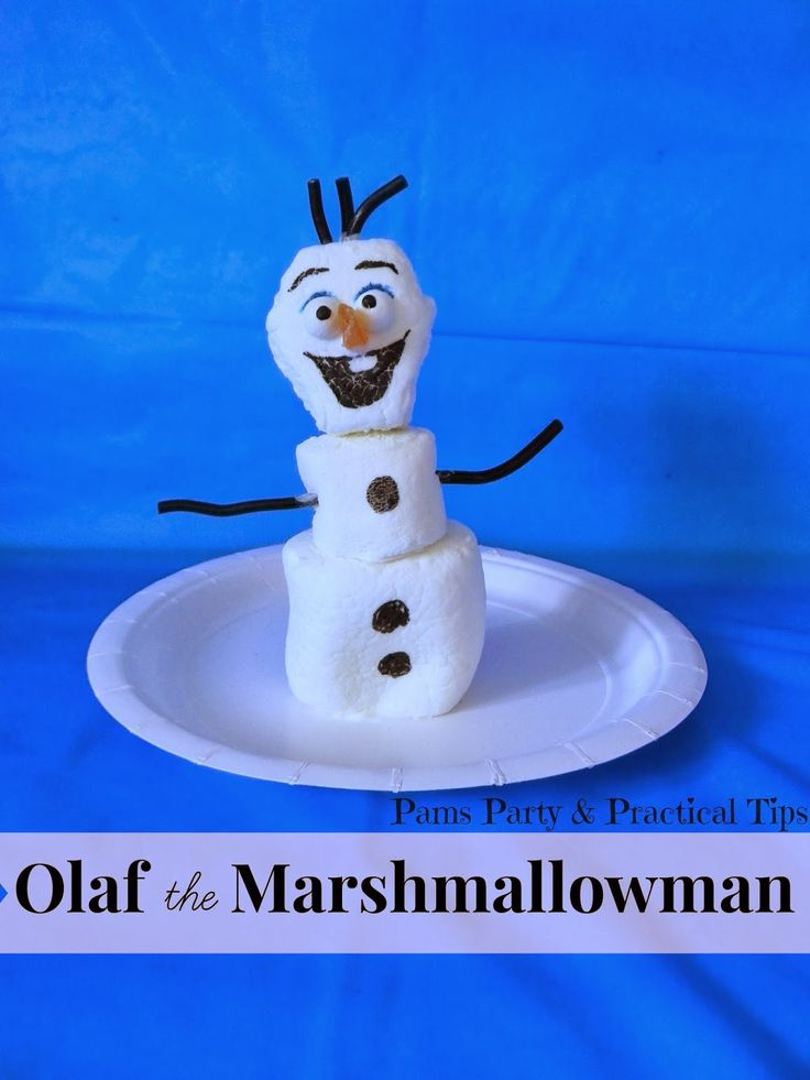 Olaf the Snowman made from marshmallows via Pams Party and Practical Tips