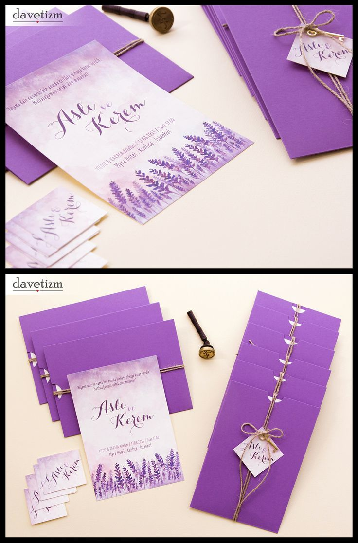 Davetizm A08 Davetiye Tasarımı #davetizm #wedding #invitation #davetiye #design #dugun #modern #lavanta #lavander #purple #tasarım #nametag #suluboya #watercolor davetizm.com