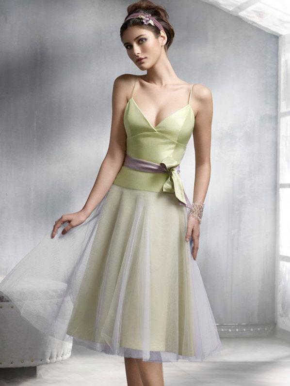 A-line Spaghetti Straps Sleeveless Knee-length Tulle Party Dress #VJ454