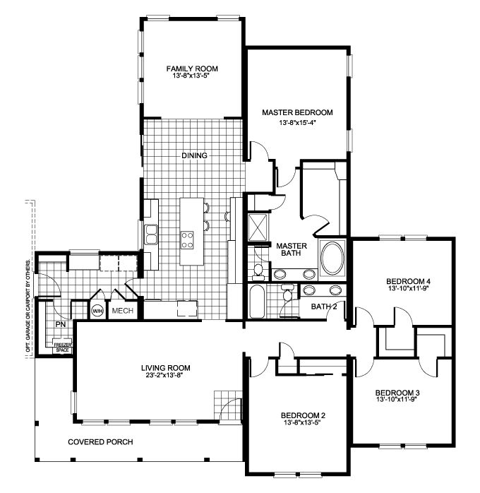 The buckeye floor plan with 4 bedrooms and family room for Residential building floor plan