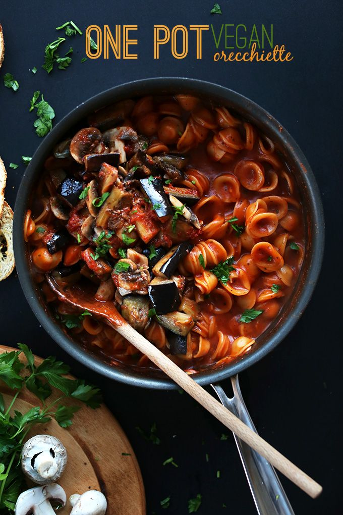 One Pot Vegan Orecchiette! The EASIEST pasta loade with mushrooms and eggplant   minimalistbaker.com