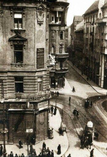Corner of Dohany utca and Síp utca 1919. Budapest, Hungary.