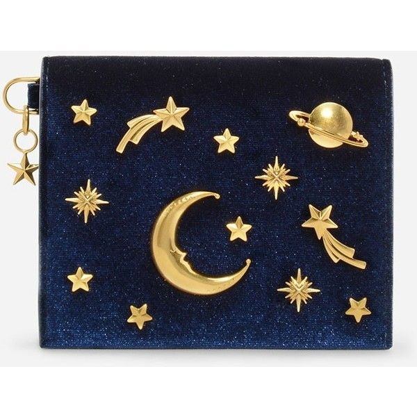 Charles & Keith GALAXY EMBELLISHED CARDHOLDER ($49) ❤ liked on Polyvore featuring bags, wallets, galaxy print wallet, planet bags, velvet bag, galaxy bag and blue velvet bag