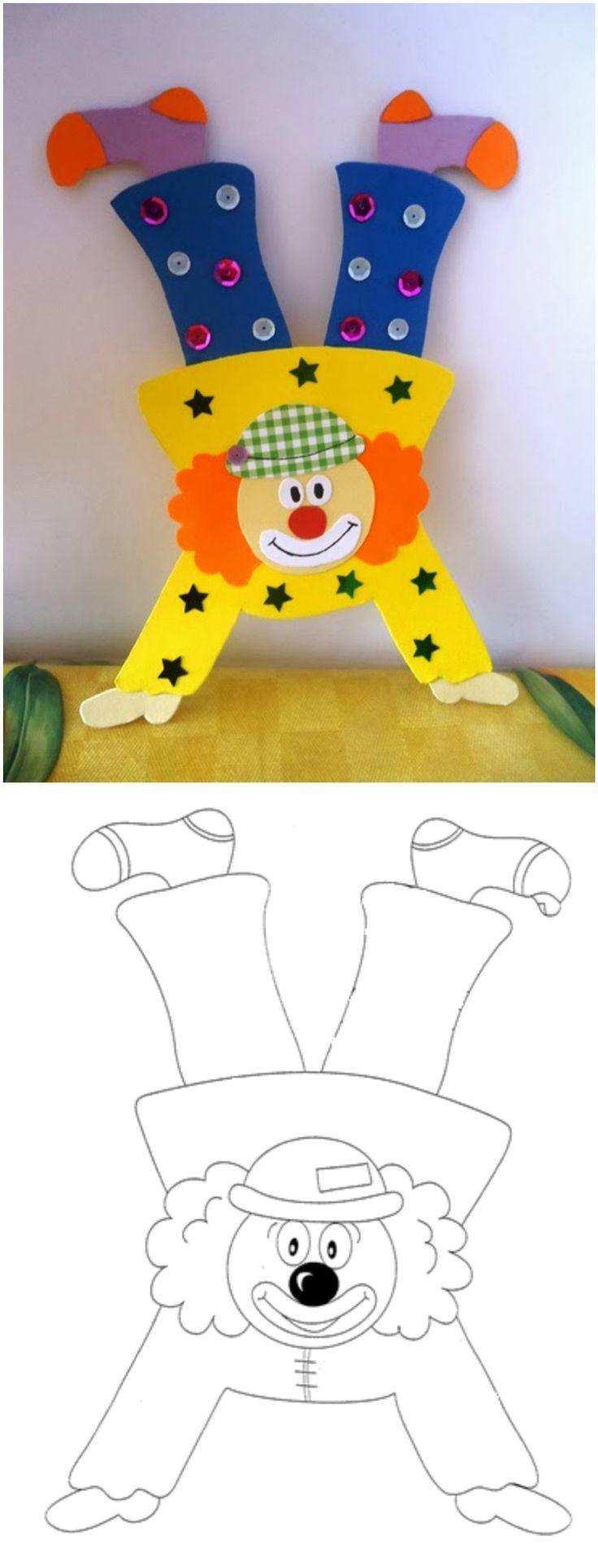 Clown basteln mit Kindern zu Fasching – Vorlagen, Ideen und Anleitungen