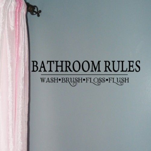 Bathroom Rules Wall Decals Wash Brush Floss Flush Kids Decor X 22 Restroom Decorations Usd By Householdwords