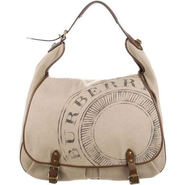 Pre-owned Burberry Canvas & Leather Messenger Bag ($495) ❤ liked on Polyvore featuring bags, messenger bags, brown, canvas bag, canvas leather messenger bag, genuine leather messenger bag, brown leather messenger bag and brown bag