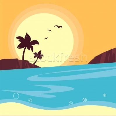 Summer & travel: silhouette of beach sunset - Retro  - ilustração de vetor por lordalea - Stockfresh #959802