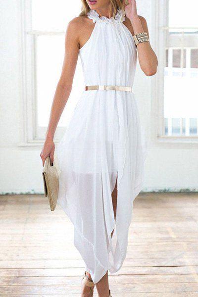 Chic Ruffled Neck Sleeveless White See-Through Chiffon Dress For Women