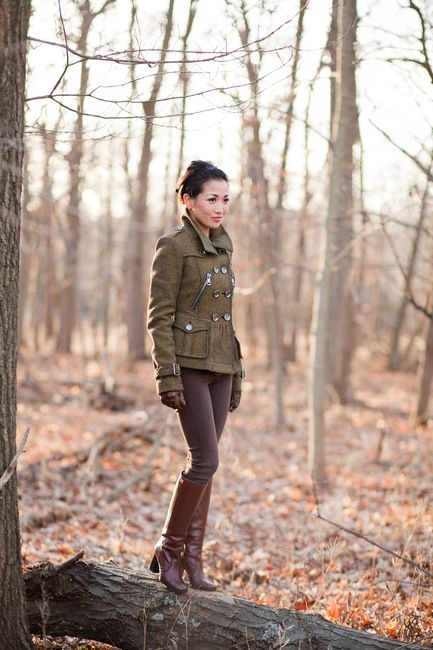 Olive Wool Military Jacket, Brown Leather Gloves, Fitted Brown Pants, Brown Leather Knee-High Chunky-Heel Boots