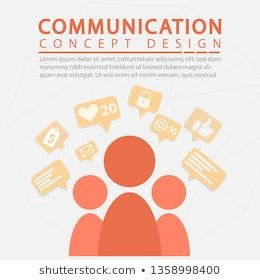 Marketing Communication concept, People icons with Speech Bubbles, on orange background. Marketing and Digital marketing. flat design. Vector Illustra…