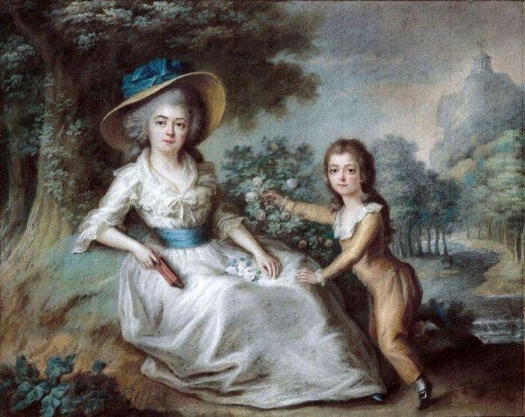 Portrait de Marie-Aurore de Saxe (1748-1821), avec un livre, et son fils Maurice Dupin de Francueil (1778-1808), vers 1785 école française