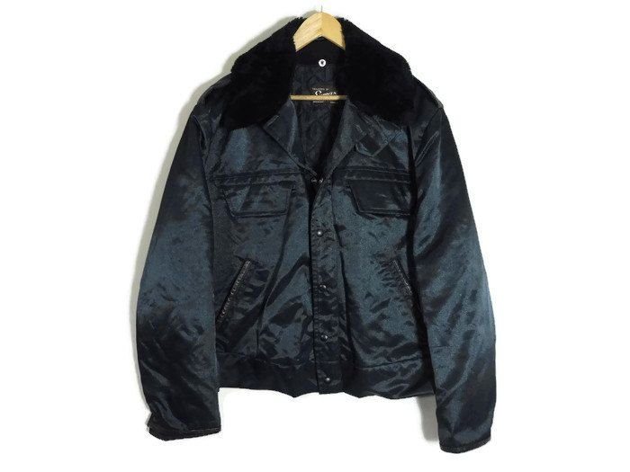 Vintage Police Jacket - XL - Removable Lining - Winter Jacket - Faux Sherpa Collar - Navy Blue Jacket - Military Jacket - Police Issue - by BLACKMAGIKA on Etsy