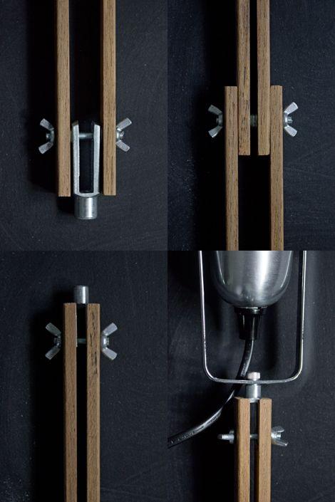 Diy industrial wooden desk lamp parts