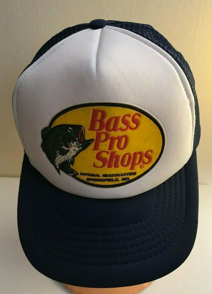 Vintage Bass Pro Shops Trucker Hat Snapback Cap Navy Foam Mesh Fishing Bassproshops Truckerhat Trucker Hat Vintage Bass Snapback Cap