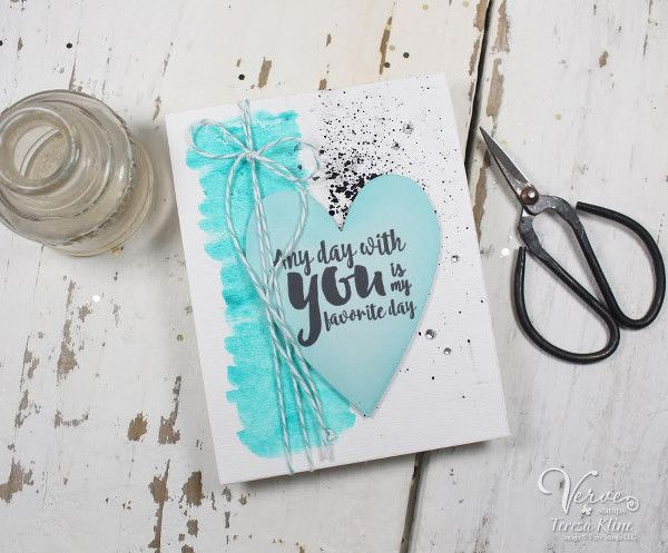 Handmade card by Teresa Kline using the Love From Me digital set by Verve. #vervestamps