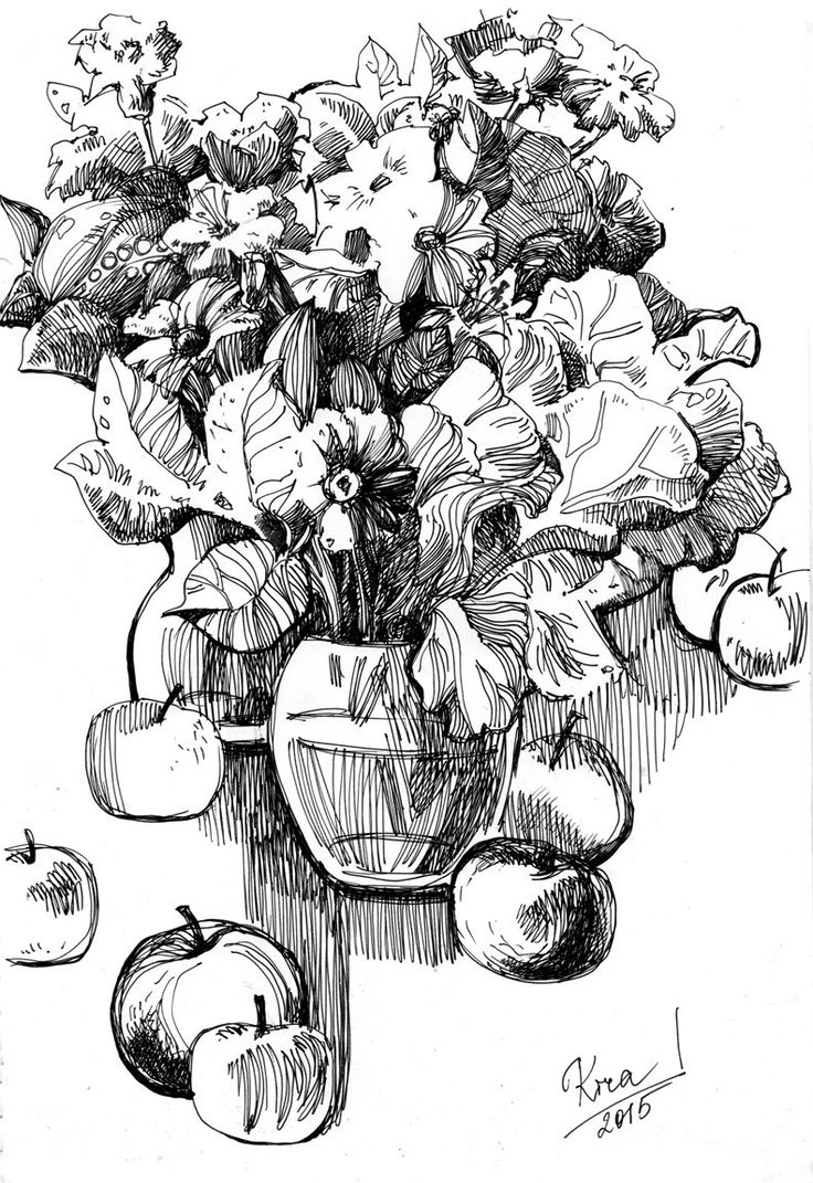 Flowers and Apples. Graphic art. Pen on paper by culufin on Etsy
