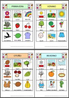 MATERIALES - Bingo de las estaciones del año. Bingo sobre los elementos más representativos de las cuatro estaciones del año con nueve celdas en cada uno de los cartones. http://arasaac.org/materiales.php?id_material=785