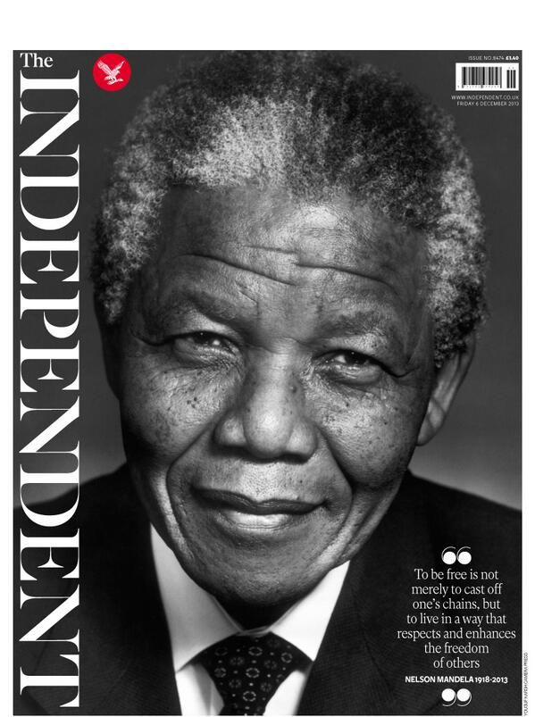 December 6, 2013: Front page of the UK newspaper The Independent pays tribute to Nelson Mandela upon his death on December 5, 2013.