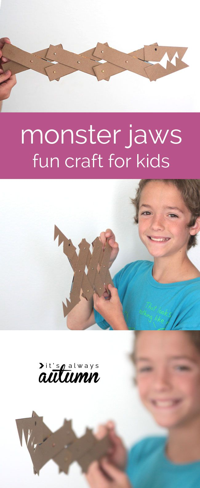 great craft for older kids - make fun monster jaws from cereal boxes and other supplies you probably have on hand!