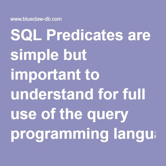 SQL Predicates are simple but important to understand for full use of the query programming language. There are five predicate functions:  Select All  Select Distinct  Select Distinctrow  Select Top  Select Top Percent