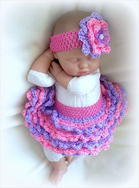 SALE Baby Girl Crochet tutu and Headband set 0 by ParesCreations