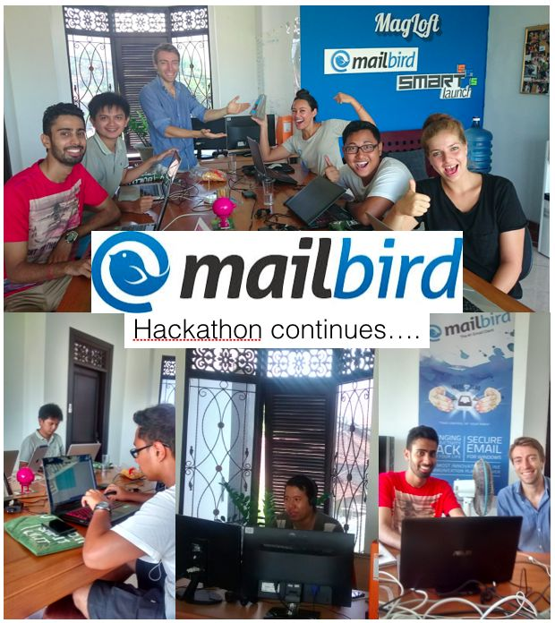 #Mailbird Hackathon Update: Our missing, amazing Team-members from India and Bandung have finally arrived to Bali...whoop...Hackathon week 2 can come:-)!!