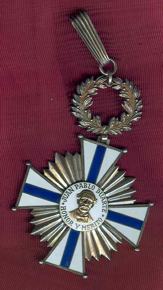 Dominican Republic Order of Juan Pablo Duarte Grand Cross Badge in Silver and ename