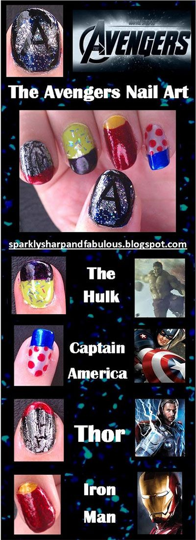 Simple Step By Step Avengers Nail Art Tutorials 2014 For Beginners & Learners