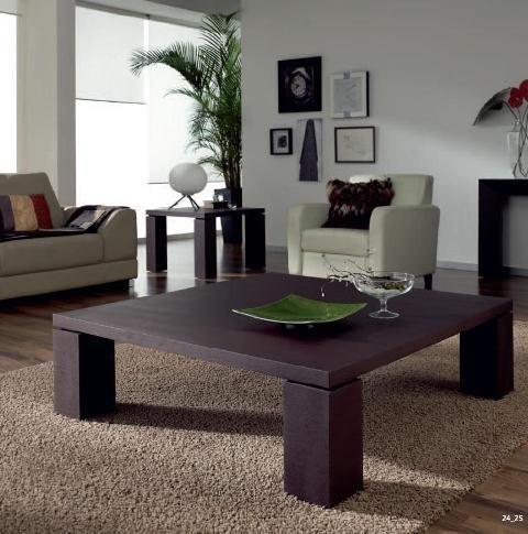 Mesa de centro de madera oscura y 4 pies