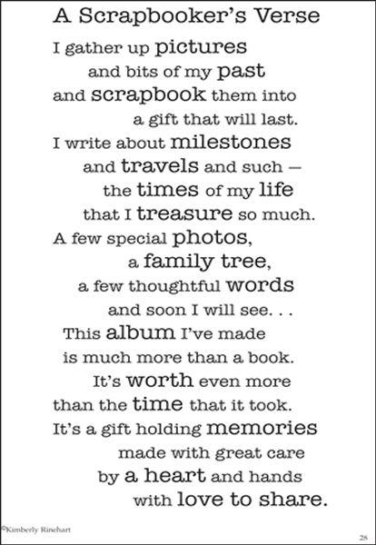 A Scrapbooker S Verse By Kimberly Rinehart Www
