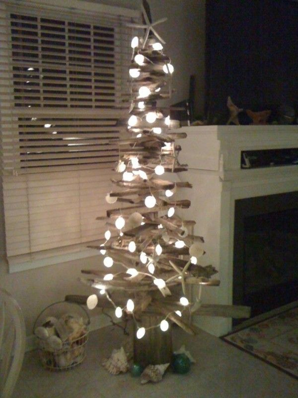 Driftwood Xmas Tree with lights and shells