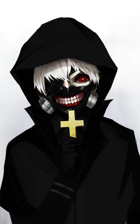Tokyo Ghoul Kaneki Ken Cross Mask White Hair Kaneki Badass Kaneki