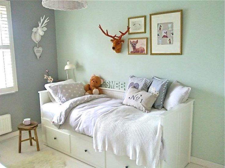 Rosie loves this bed and turquoise colour on wall
