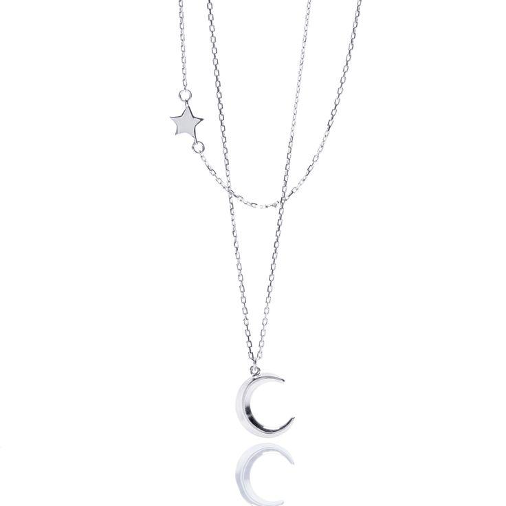 Silver necklace, WILD jewelry, ANIA KRUK, moon, star, polish brand