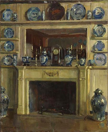 """MUSE students saw this in the """"Portraits of Interiors"""" exhibition. The artist is internationally known Walter Gay (American, 1856-1937), """"Blue and White"""", 1904."""