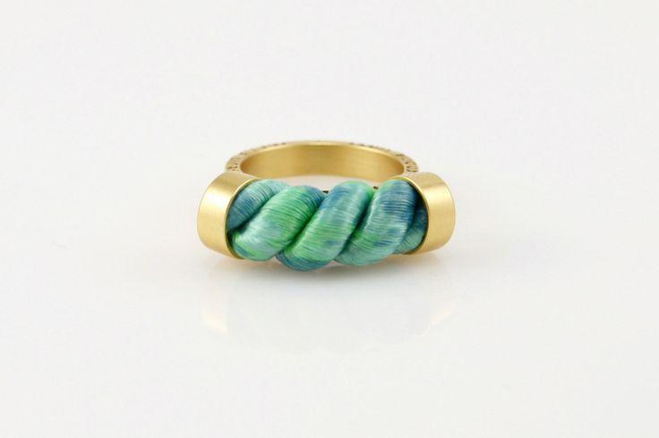 Nautical,- złoty pierścionek, zieleń seledynowa w Fruit Bijoux na DaWanda.com #niezchinzpasji