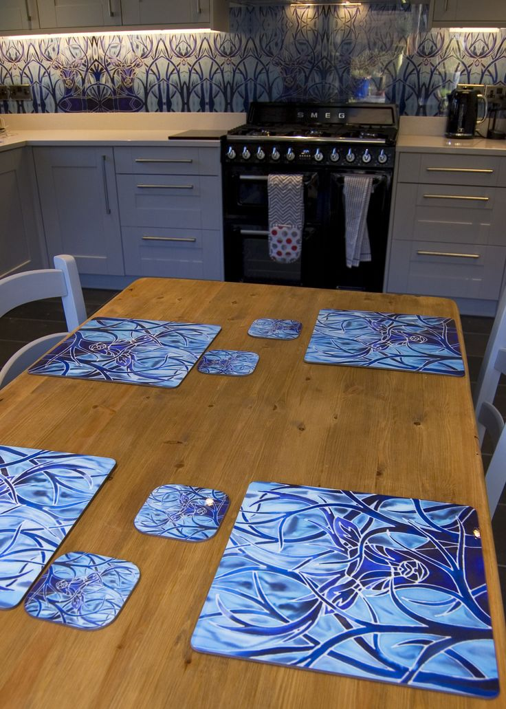 Designed and made to order Stag Splashback and matching Table mats and Coasters complete the look www.meikiedesigns.com