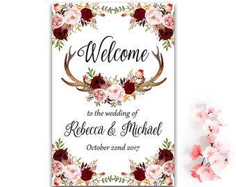 Druckbare Hochzeit Willkommensschild willkommen Bordeaux Blumen Hochzeit Zeichen erröten rosa Hochzeit Willkommensschild Boho Hochzeitsdekoration mit Geweih