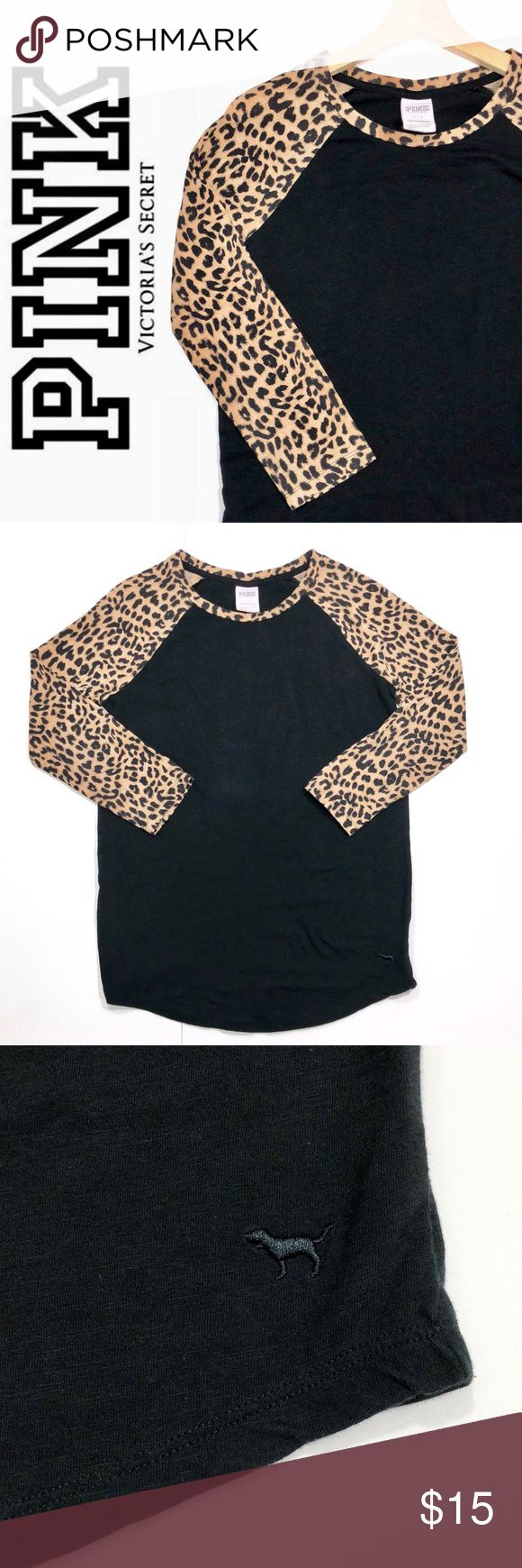 PINK Animal Print Tee ✔️3/4 Sleeve ✔️Cotton•Polyester ✔️Excellent Used Condition ✔️1742-3 PINK Victoria's Secret Tops