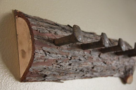 cedar log coat rack with railroad spikes by FlintridgeCustom