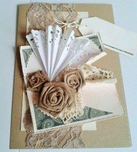 kartka retro z różami i parasolką