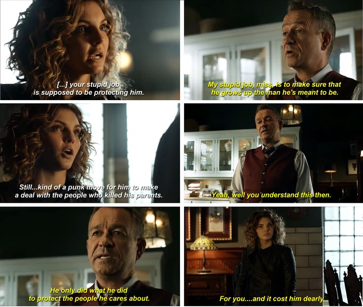 """He only did what he did to protect the people he cares about. For you... and it cost him dearly"" - Alfred and Selina #Gotham"
