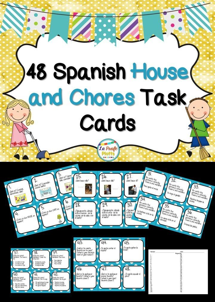 Tired of boring worksheets? Get students up and moving with these engaging task cards about house vocabulary and chores in Spanish!