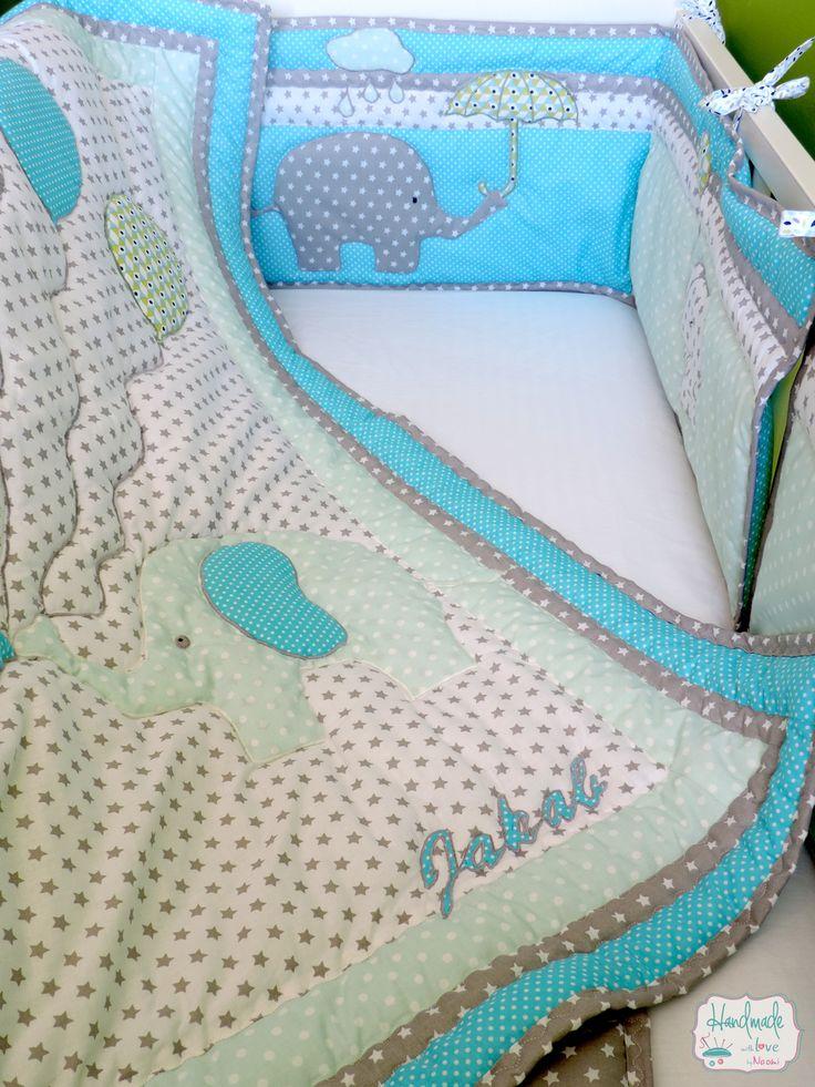 7 besten Patchwork blue nursery bedding with elephant appliqué ...