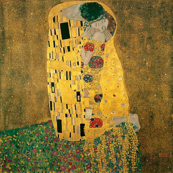 """Glustav Klimt's Controversial Pattern in Painting . """"The Kiss"""" is one Klimt´s most recognizable works and was completed during his gilded period .Passages of abstract pattern masterfully mixed with the realizm of the figures."""