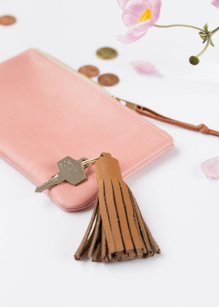 Leather tassel key chain.
